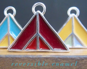 Mountain Necklace - New Century Modern - Red Reversible Enamel Necklace