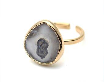 Solar Druzy Ring, Gold Electroplated Gemstone Druzy Adjustable Ring 1pc (DZGR-12935)
