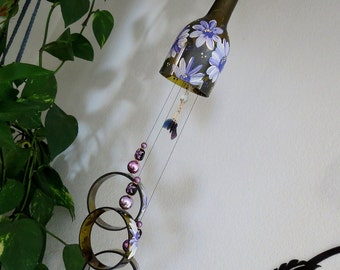 Wine bottle windchime, Dark Amber wind chime, Purple flowers, yard art, patio decor, recycled bottle wind chime, hand painted chime