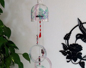 Large Vodka bottle wind chime, Yard art, Patio decor, Recycled vodka bottle, Small flowers, Green, Purple, Red,  Clear glass, Wind chime