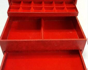 Vintage Burgundy Red Large Jewelry Box