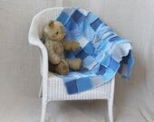 Upcycled Patchwork Baby Blanket. Handmade from Recycled Wool Cashmere & Lambswool. Blues. Baby Boy. Handmade UK OOAK