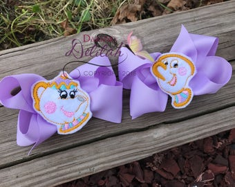 Mrs. Potts and Chip Hair Bow Set