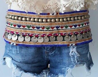 Vintage Coin Gypsy Hippie Colorful Belt/ Boho Belts/Festival belt/Gypsy Belt/Belly Dance Belt/Tribal Belt