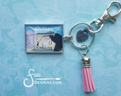 """Glass Pendant Keychain of wearble inspirational art print """"Dream"""" from original artistic drawing of sleeping woman. Unusual gift."""