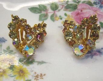 Spring Sale...Vintage AB Rhinestone Clip Back Earrings...Riveted Backings...Aurora Borealis Earrings...Leaf Style Rhinstones