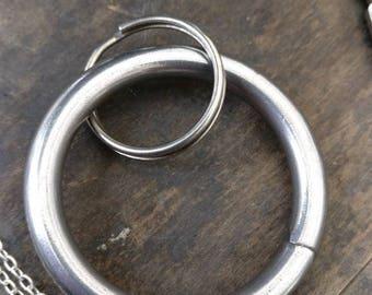 Simple closed ring keyring, forged circle, Blacksmith made