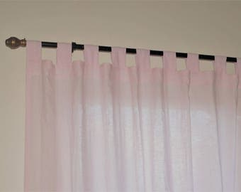 Linen curtain panel  , linen window panel, linen drapery -  pink linen