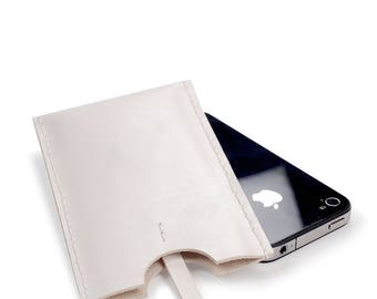 White leather iPhone 4 case, iPhone sleeve