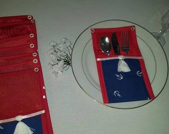 Cutlery Pocket Holder-Outdoor flatware-Setting banquet Holder-Silverware Holder