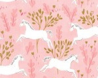 Fabric Michael Miller Fabric Magic! Unicorn Forest by Sarah Jane Pink Cotton Metallic Fabric