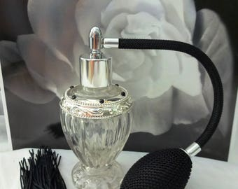 Diva Glass Atomizer Perfume Bottle with Black Cord, Tassel and Bulb - Perfume Bottle, Perfume Gift, Perfume Atomizer, Fancy Perfume Bottle