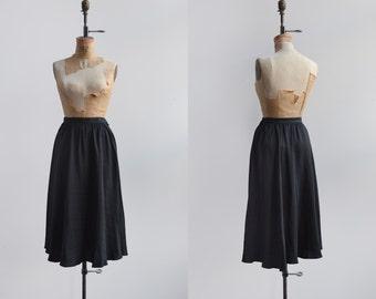 New Moon Skirt / 1990s black silk skirt / vintage midi skirt