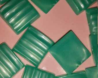 Vintage Lucite Flat Back Mint Green Square Moonglow Cabochons