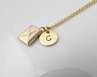 Envelope Necklace, Initial Envelope Necklace, British Seller UK, Gifts for Girls, Bridesmaid Gifts, BFF Gift, Travel Gift, Enjoy the Journey