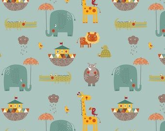 Riley Blake's Giraffe Crossing 2~~5 yard bundle TEAL