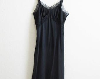 Embellished Sheer Black Slip 1950s Small 34 Charmode