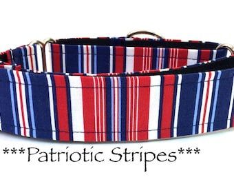 Martingale Dog Collar, Dog Collar, Adjustable Dog Collar, Classic Dog Collar, Stripes, Patriotic, Blue, Red, Patriotic Stripe