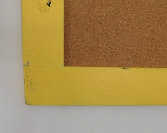 Yellow FRAMED CORK BOARD - Bulletin Board - Rustic, Distressed Wood - Shown in Bold Yellow - 24 x 36 - More Colors Available