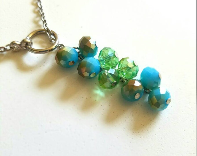Blue Teal Silver Light Green Glass Beaded Chain Toggle Dangle Necklace