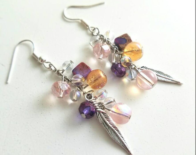 Pink Purple Amber Opal Stone Feather Beaded Earrings
