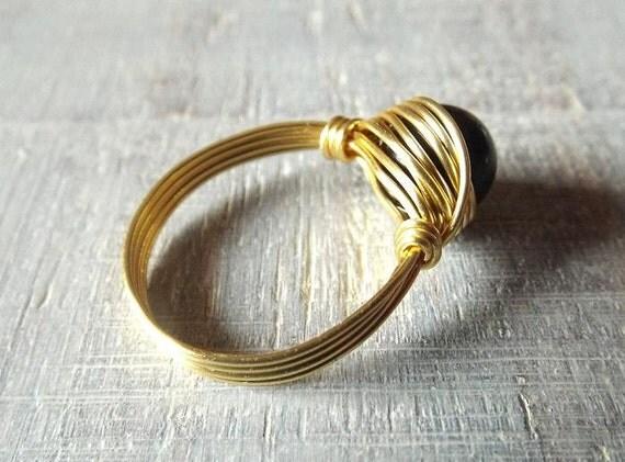 Goldring mit schwarzem stein  Regenbogen-Obsidian-Ring schwarzer Stein Ring schwarzer