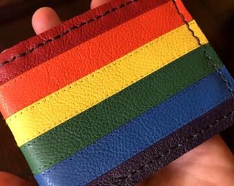 Gay pride, gay pride wallet, rainbow wallets, gay rainbow wallets, lgbt wallet, rainbow striped leather wallets, gay wallets, pride wallets.