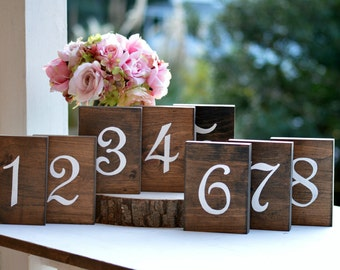 Wooden Table Numbers, Rustic Wedding Table Numbers Self Standing, Wedding Centerpieces Woodland Wedding Table, Painted (TN101F1))
