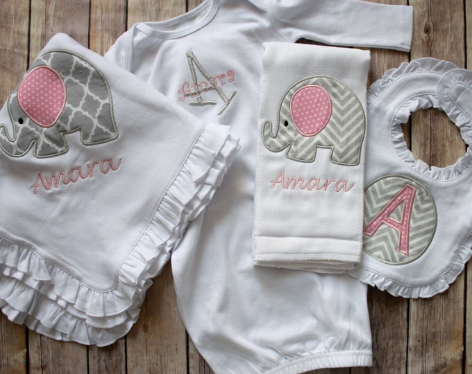 Monogrammed Baby Gift, Baby Girl Gift, Monogrammed Baby Girl, Baby Gift Set, Baby Shower Gift, Elephant Baby, Baby Blanket, Personalized