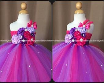beautiful flower girl tutu dress ,princess dress in hot pink,lavender and purple