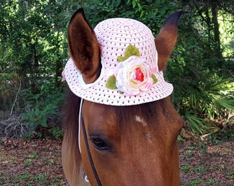 Pink Camelia Hat for Horse, Pony, or Mini -- Straw Sun Hat for Equines - Miniature Horse Tack