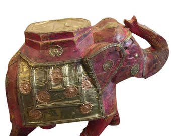 Jaipur Decorative Antique Elephant Saluting Red, Golden Wooden Sculpture Table Decor FREE SHIP