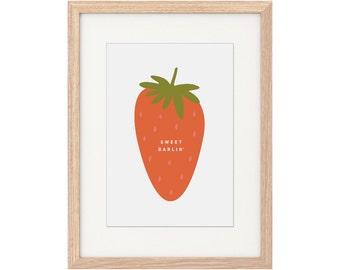 A4 Print – Sweet Darlin'. A4 Print. Digital Illustration. Wall Print. Strawberry Artwork. Cute. Kids Artwork. Quirky Print. Nursery Decor.