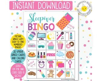 Sleepover / Slumber Party Printable Bingo Cards (30 Different Cards) - Instant Download