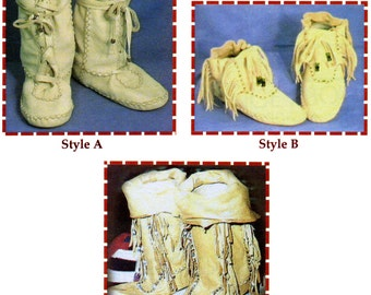 Native American Shoshone Indian Moccasin in 3 Styles - SparrowHawk Sewing Pattern Y005