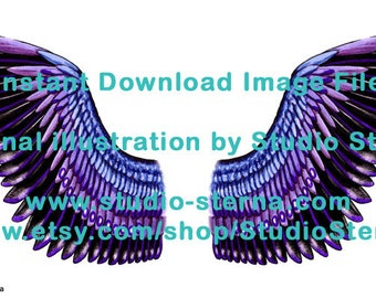 Drawing fantasy bird angel wing design feathers color 3 black purple watercolor instant download image file print cut make create dolls