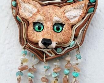 "FOR SALE! Totem pendant ""Dawn a nomad"". Jewelery. Guardian. Spirit fenek fox. Medallion. Necklace."