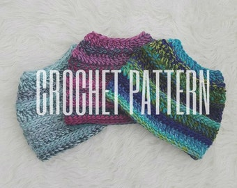 Messy Bun Beanie **Crochet Pattern**