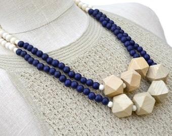 navy blue necklace / navy beaded necklace / dark blue statement necklace / geometric necklace / navy tan gold / modern necklace