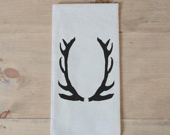 Tea Towel, Antlers, present, housewarming, wedding favor, kitchen decor, women's gift, flour sack dish cloth