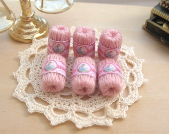 dollhouse wool balls x 6 pink nursery mary had a lamb themed baby wool 12th scale miniature