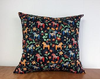Swedish Dala Horse Pillow Case Black