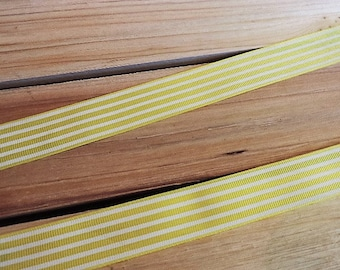 Yellow and white striped ribbon - 3 yards
