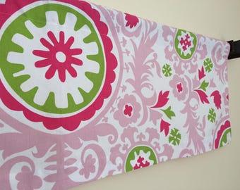 SALE Suzani Candy Pink Valance, Chartreuse/Pink Window Valance, Girls Valance