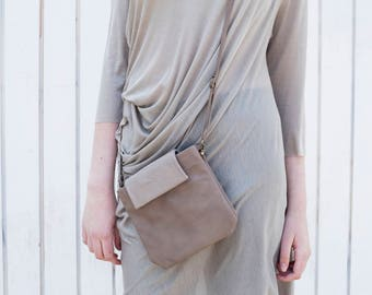 Mini Pouch, Leather Clutch, Women Leather Bag, Small Bag, Mini Leather Bag, Women Purse - Khaki  Finchley