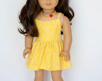 American Girl Doll sized floral Boomerit Falls dress - yellow floral