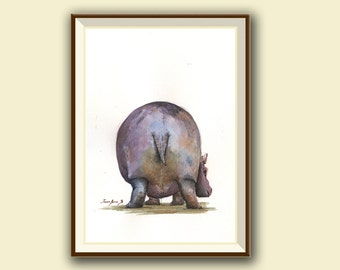 SERIE BUTT-Hippo- hippo walk print of watercolor painting- hippopotamus illustration africa safari decor- Art Print by Juan Bosco