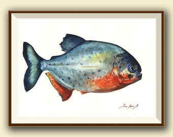 PRINT- Piranha fish  -gamefish - fishing art - fish print painting art print - Piraña fishing decor - Art Print by Juan Bosco