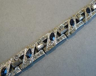 Stunning Vtg Art Deco Sapphire & Clear Rhinestone Rhodium Plated Bracelet