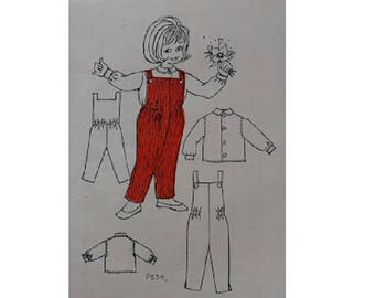 Vintage 60's Little Girls Dungaree Romper Jumpsuit and Peter Pan Collar Blouse Top.